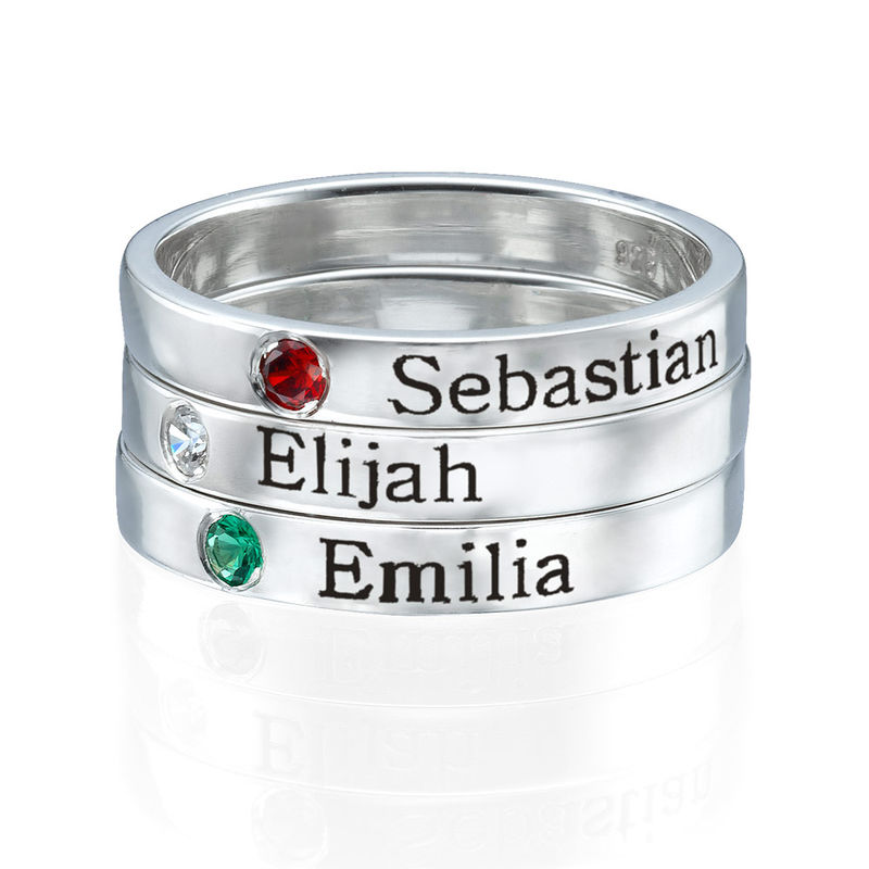 Naam ring met één steen - 2