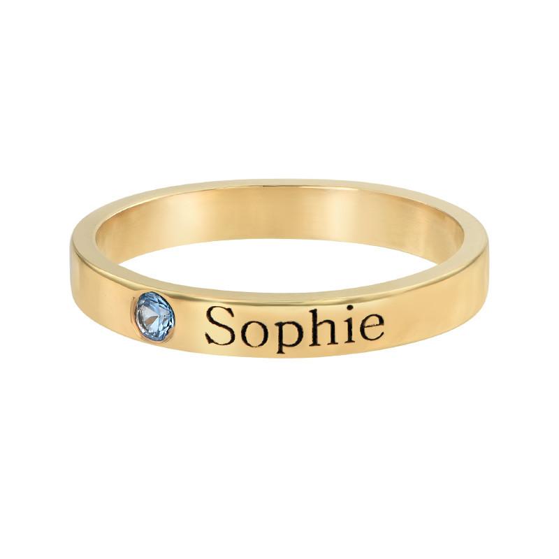 Naam ring met één steen - 18k geelgoud verguld - 1