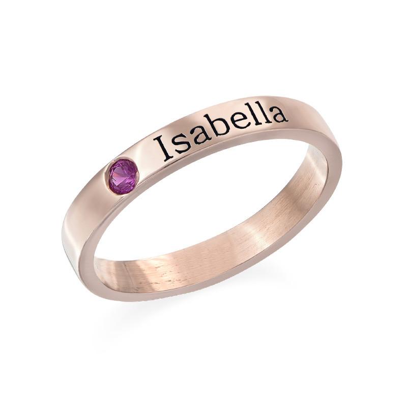 Naam ring met één steen - 18k roségoud verguld