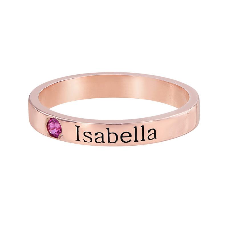 Naam ring met één steen - 18k roségoud verguld - 1