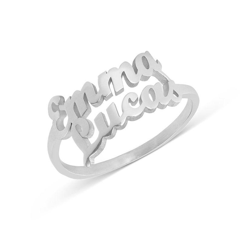 Sterling Zilveren Naam Ring met Twee Namen