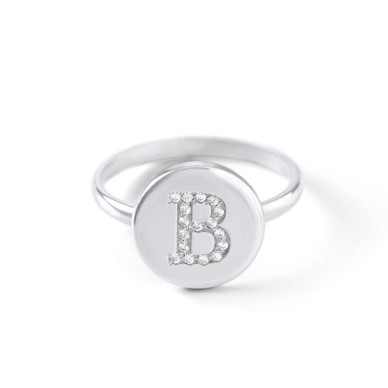 Sterling Zilveren Initialenring met Cubic Zirkonia