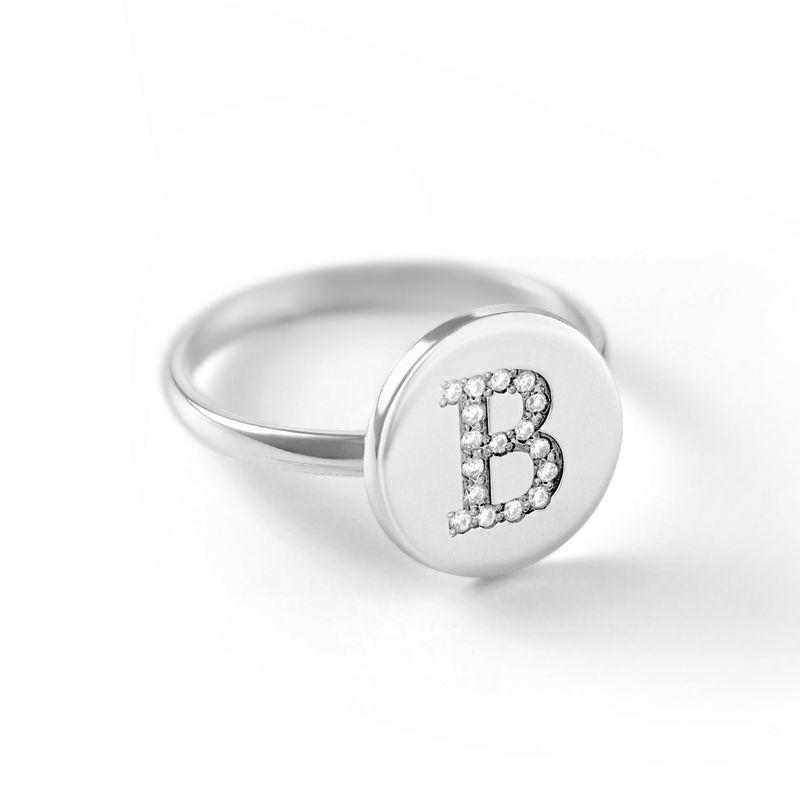 Sterling Zilveren Initialenring met Cubic Zirkonia - 1