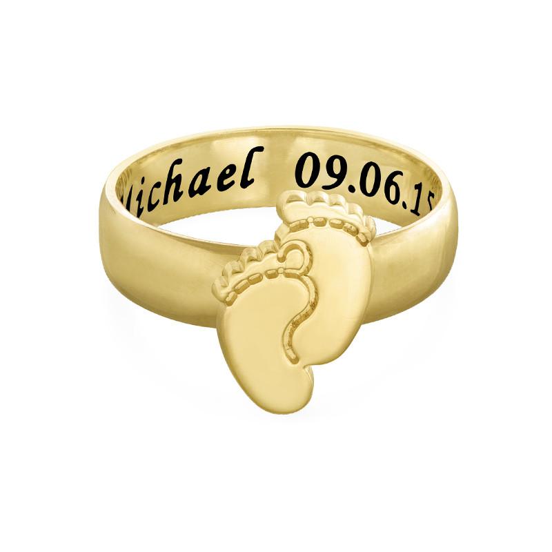 Graveerbare Babyvoeten Ring in Goudkleur - 1