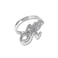 Sierlijke Initiaal Ring in 925 Zilver