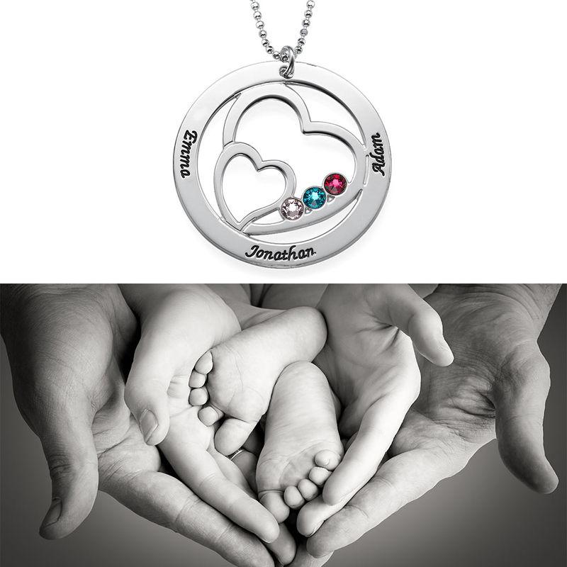 Harten in Cirkel Geboortesteen Mama Ketting in 925 Zilver - 2