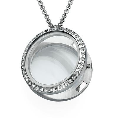 Zilverkleurige Ronde Locket met Kristallen - 1