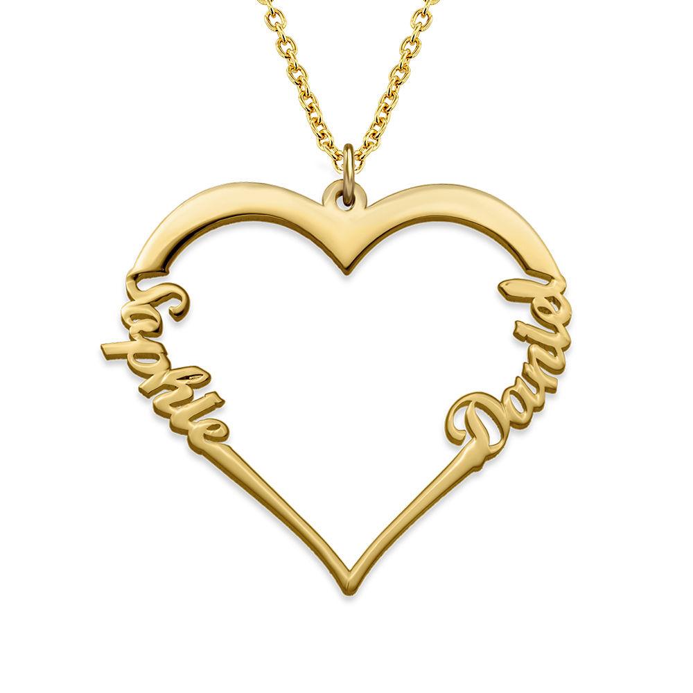 Hart Ketting met Persoonlijk Lettertype - Mijn Eeuwig Durende Liefdescollectie in Goud Verguld