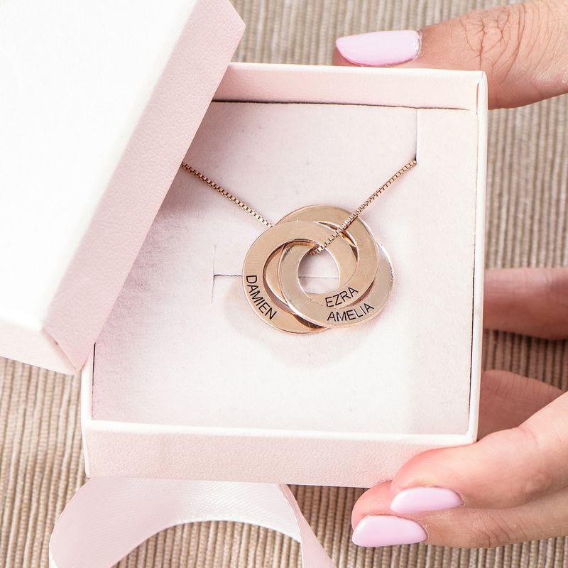 Ketting met Russische Ring en Ingravering - Rosé-verguld - 5