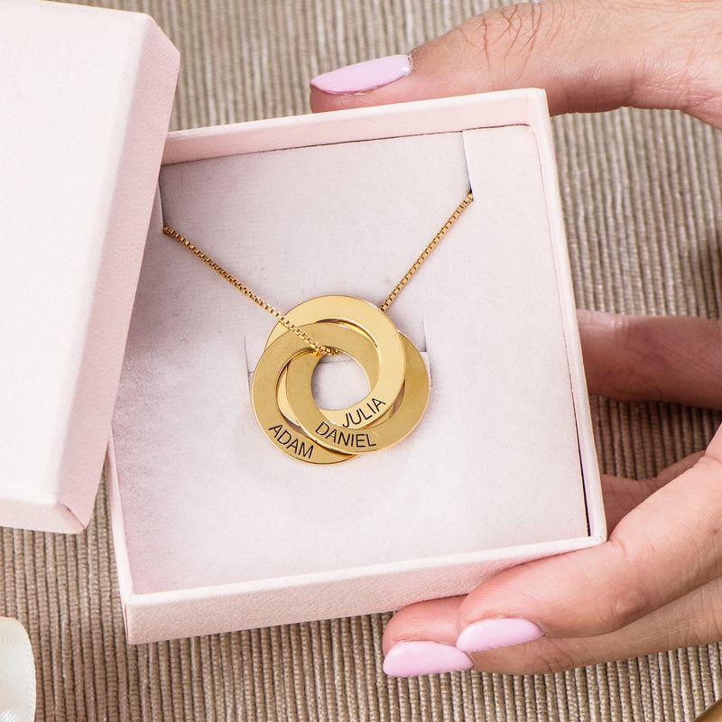 Russische ring gegraveerde ketting in Goud Verguld Vermeil - 5