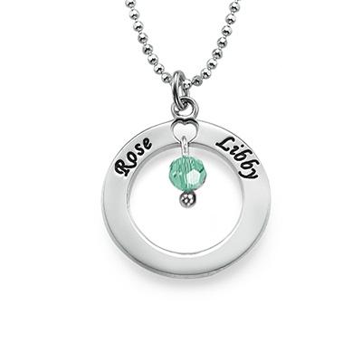 Gegraveerde Cirkel Hanger met Geboortesteen in 925 Zilver - 1