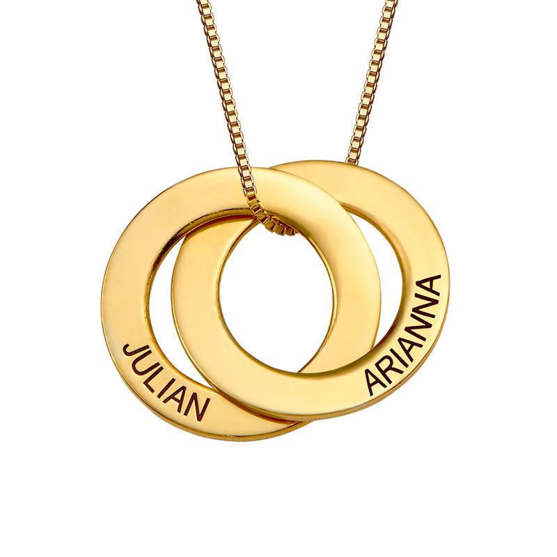 Russische ring ketting met 2 ringen in Goud Verguld Vermeil