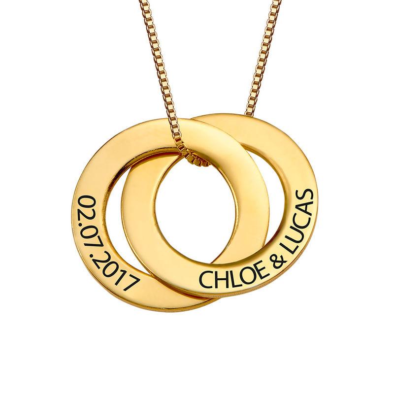 Russische ring ketting met 2 ringen in Goud Verguld Vermeil - 1