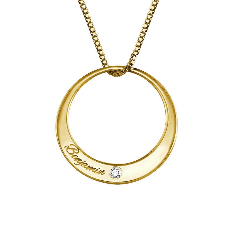 Vergulde cirkel ketting met diamant - 1