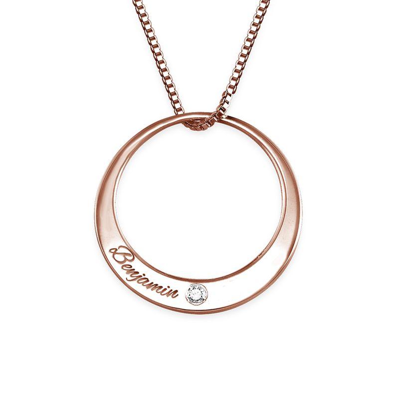 Rosé-vergulde cirkel ketting met diamant - 1