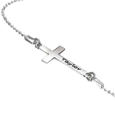 Zilveren (0.925) Diagonale Kruis Ketting