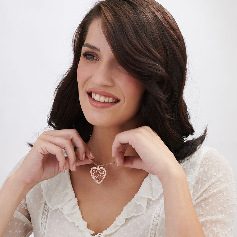 Rosé-vergulde hartjes levensboom ketting met diamant - 1