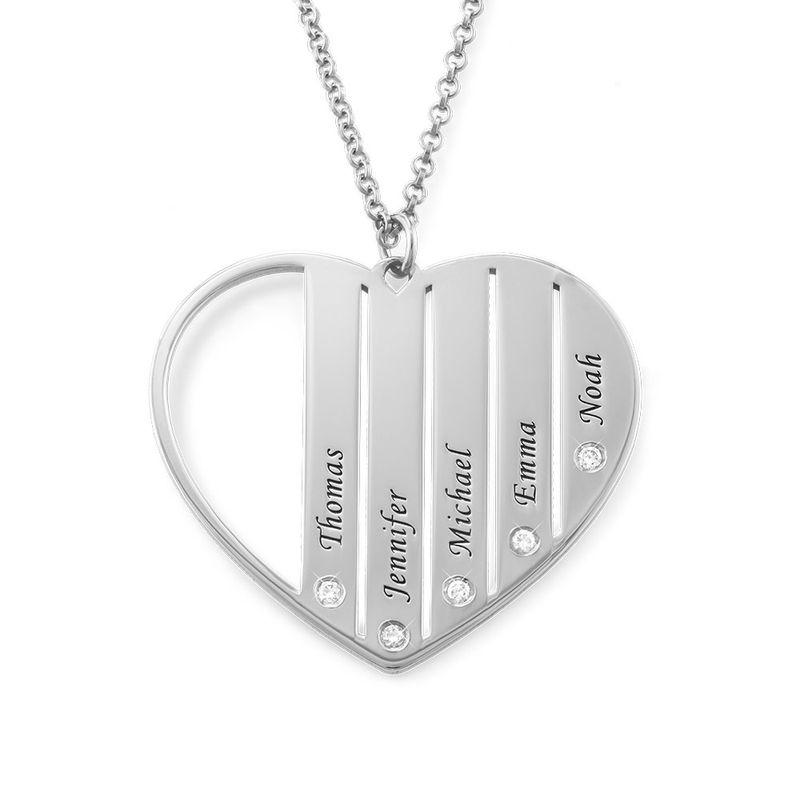Zilveren Mama ketting met diamanten - 1