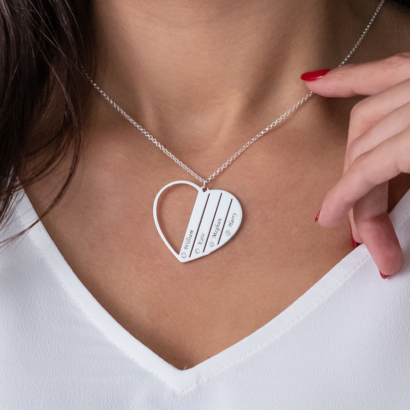 Zilveren Mama ketting met diamanten - 3