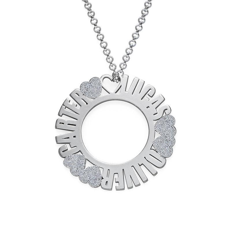 Cirkelvormige, Sterling Zilveren Naamketting met Diamanteffect