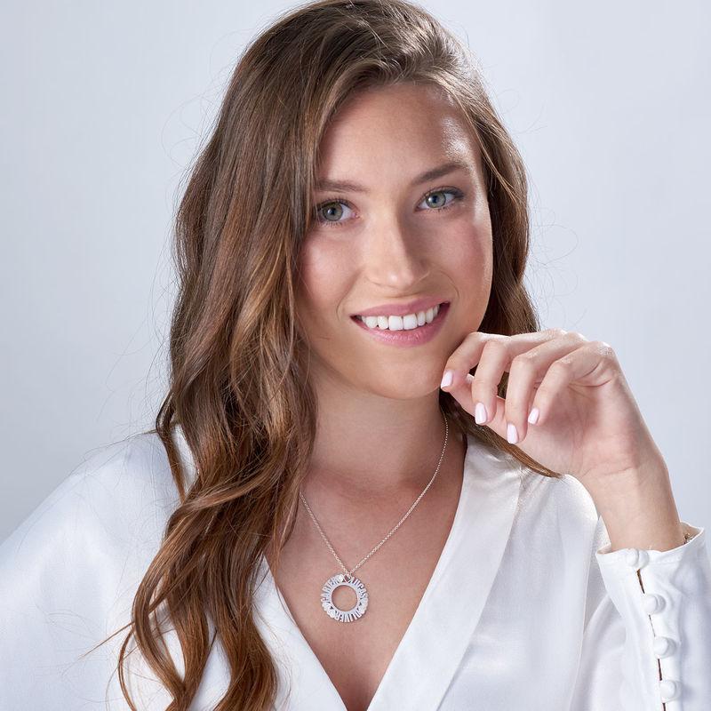 Cirkelvormige, Sterling Zilveren Naamketting met Diamanteffect - 1
