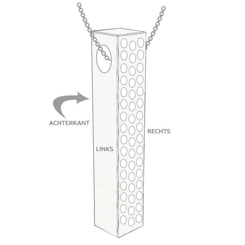 Verticale 3D Bar-ketting met Zirkonia in zilveren uitvoering - 5