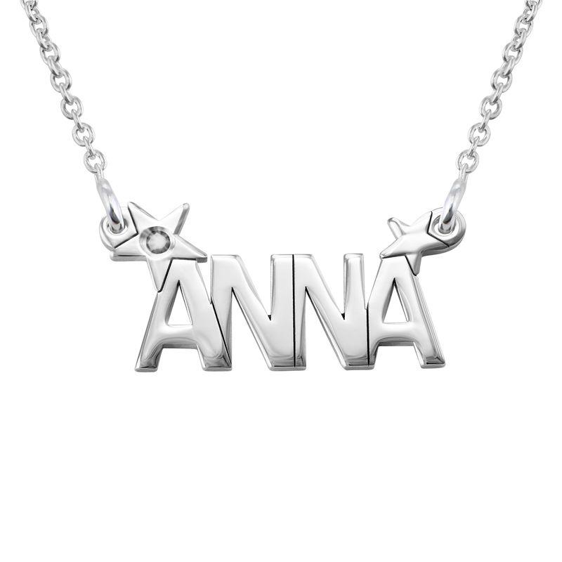 Zilveren sterren naamketting met diamant