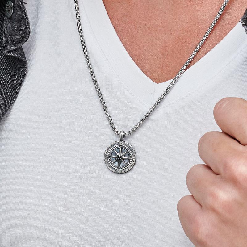Heren ketting met kompashanger in Sterling zilver - 3