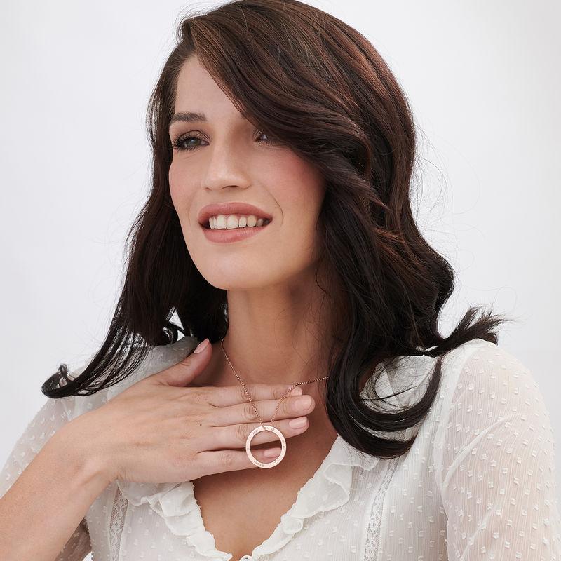 Gepersonaliseerde ring mama ketting met diamant in rosé-vergulde uitvoering - 2