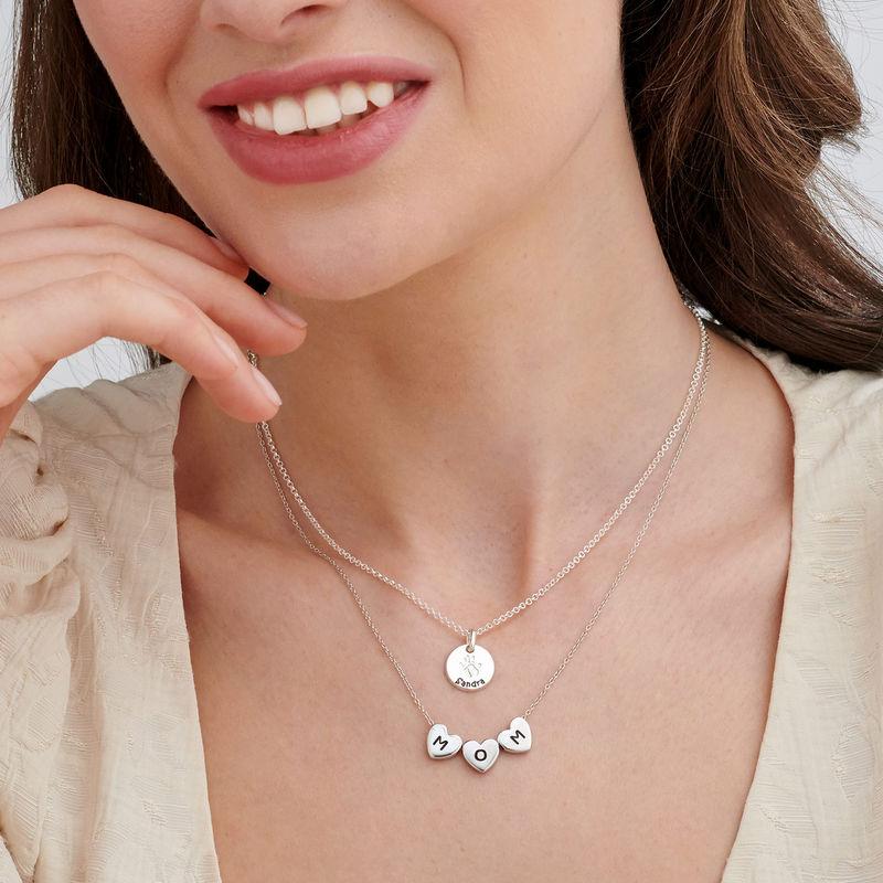 Sterling zilveren stapelbare Initialen hartjes ketting - 4