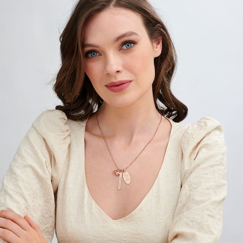 Rosé-vergulde gepersonaliseerde Mama ketting met bedeltjes - 1