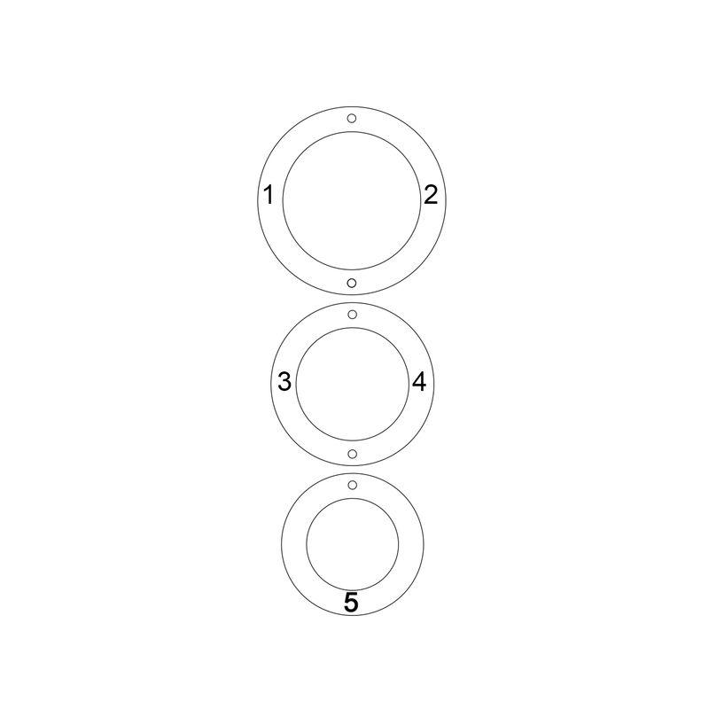 Driekleurige gegraveerde ketting met 3 rondjes - 3