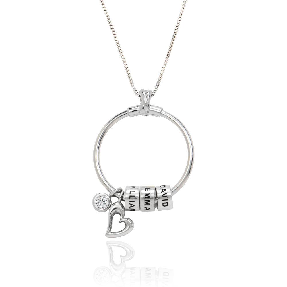 Gegraveerde Cirkel Hanger Ketting met blad en persoonlijke kralen™ in Sterling Zilver