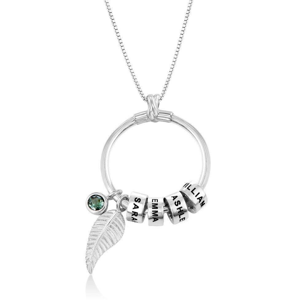 Gegraveerde Cirkel Hanger Linda ™ Ketting met blad en persoonlijke kralen in Sterling Zilver - 1