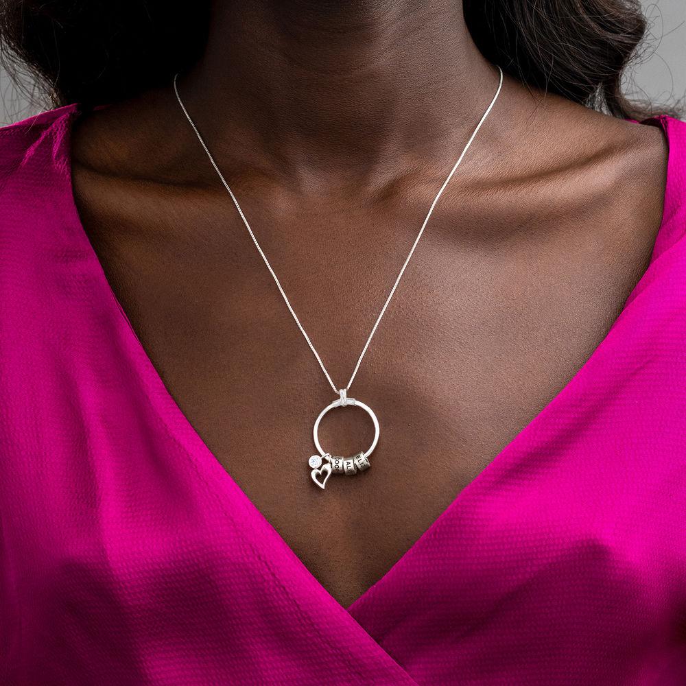 Gegraveerde Cirkel Hanger Linda ™ Ketting met blad en persoonlijke kralen in Sterling Zilver - 4