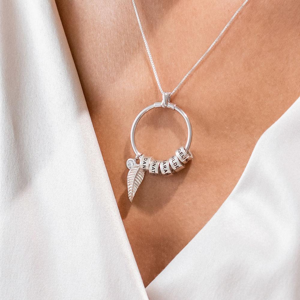 Gegraveerde Cirkel Hanger Linda ™ Ketting met blad en persoonlijke kralen in Sterling Zilver - 5