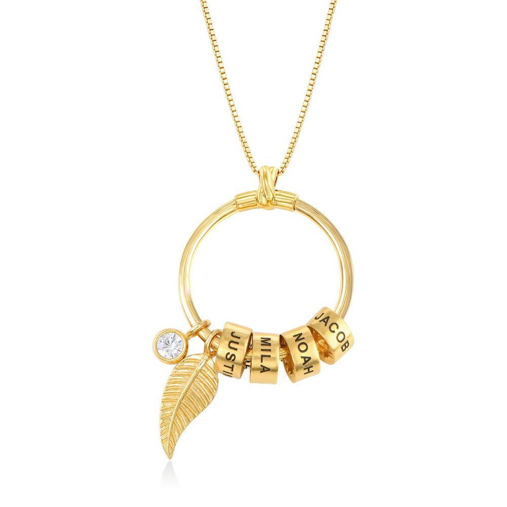 Gegraveerde Cirkel Hanger Ketting met blad en persoonlijke kralen™ in 18K Goud Verguld - 1