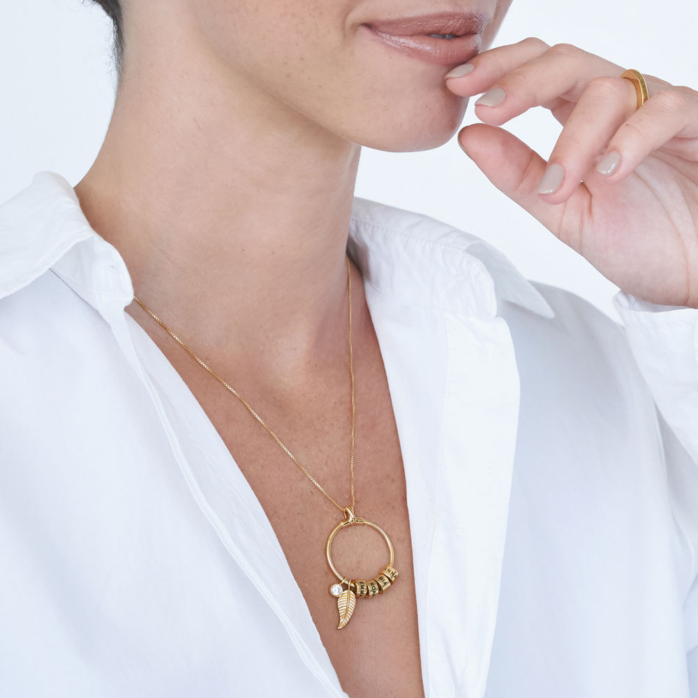 Gegraveerde Cirkel Hanger Ketting met blad en persoonlijke kralen™ in 18K Goud Verguld - 5