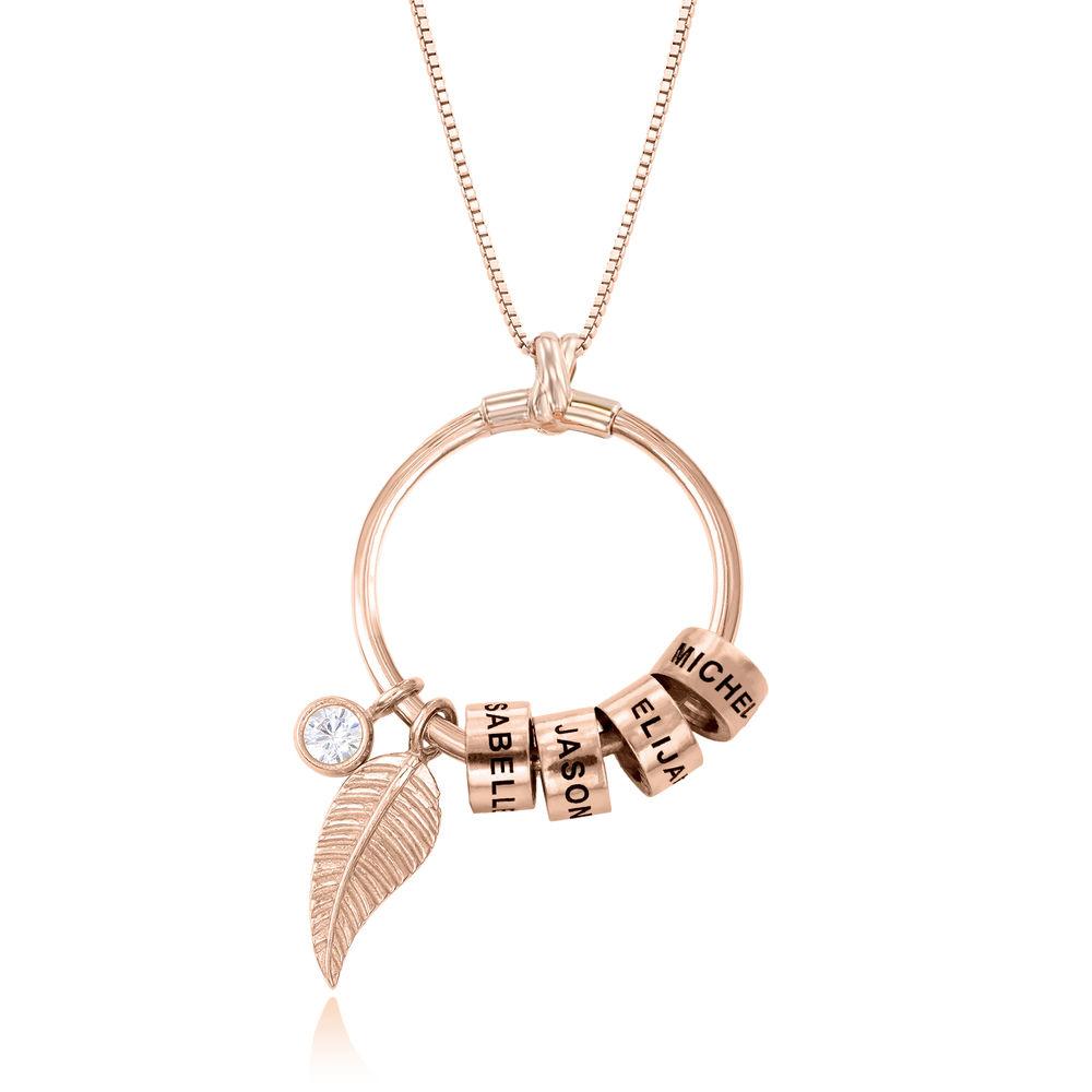 Gegraveerde Cirkel Hanger Ketting met blad en persoonlijke kralen™ in 18K Rosé Goud Verguld - 1