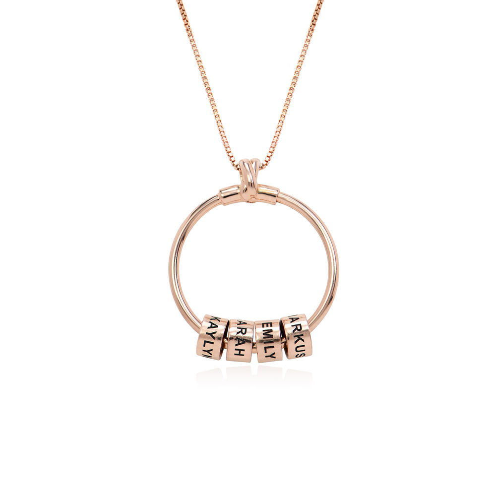 Gegraveerde Cirkel Hanger Ketting met blad en persoonlijke kralen™ in 18K Rosé Goud Verguld - 2