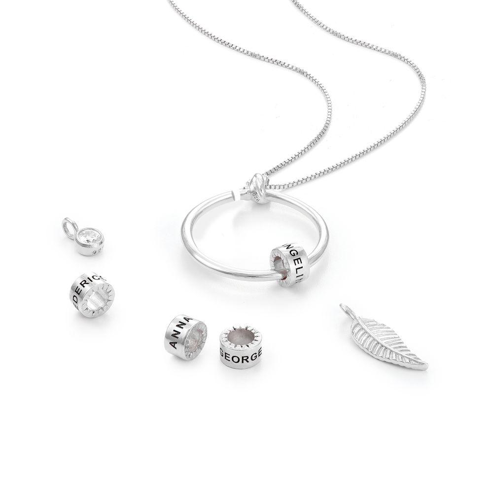 Gegraveerde Cirkel Hanger Linda ™ Ketting met blad en persoonlijke kralen in Sterling Zilver met diamanten - 2