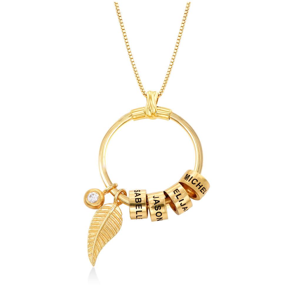 Gegraveerde Cirkel Hanger Ketting met blad en persoonlijke kralen™ in 18K Goud Verguld met diamanten
