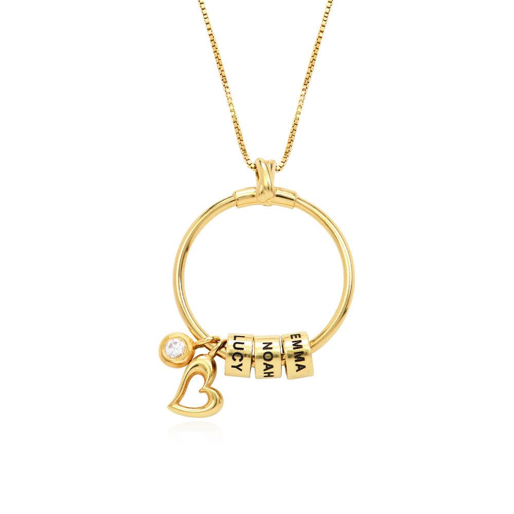 Gegraveerde Cirkel Hanger Linda ™ Ketting met blad en persoonlijke kralen in 18K Goud Verguld met diamanten - 1