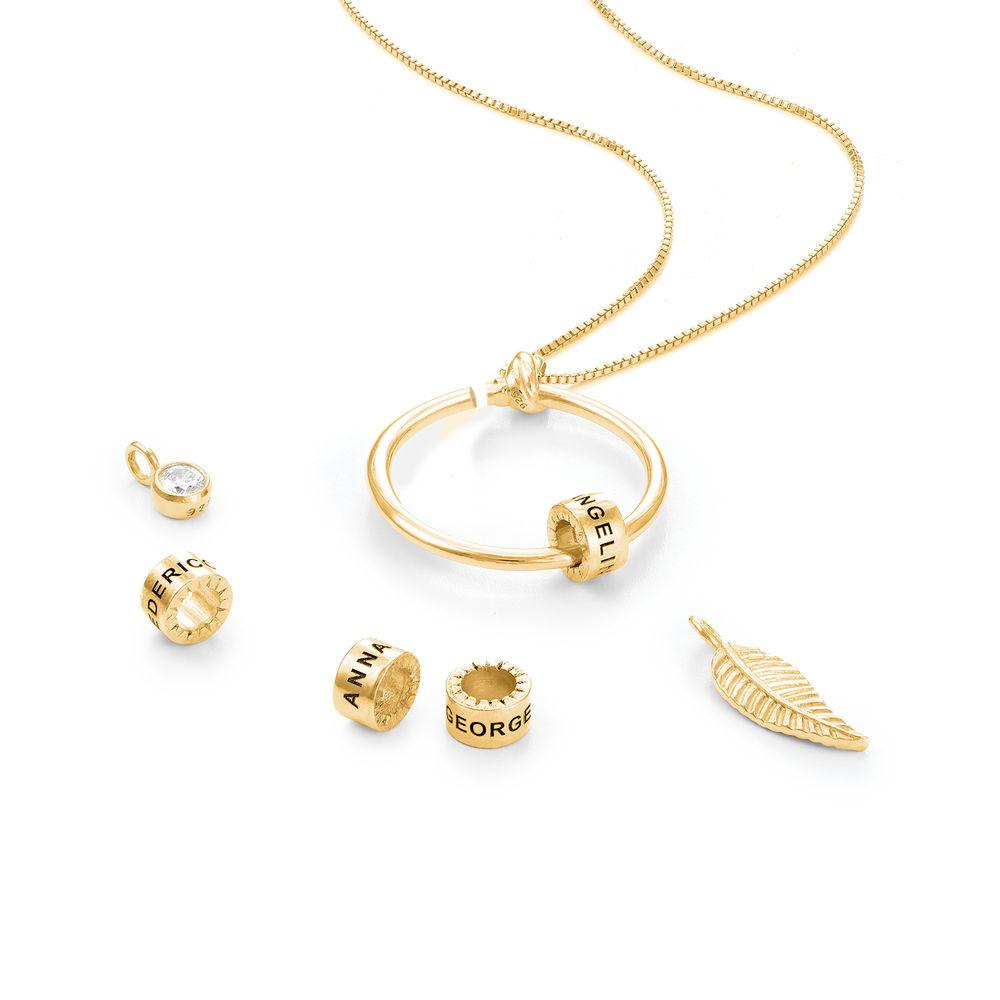 Gegraveerde Cirkel Hanger Linda ™ Ketting met blad en persoonlijke kralen in 18K Goud Verguld met diamanten - 2