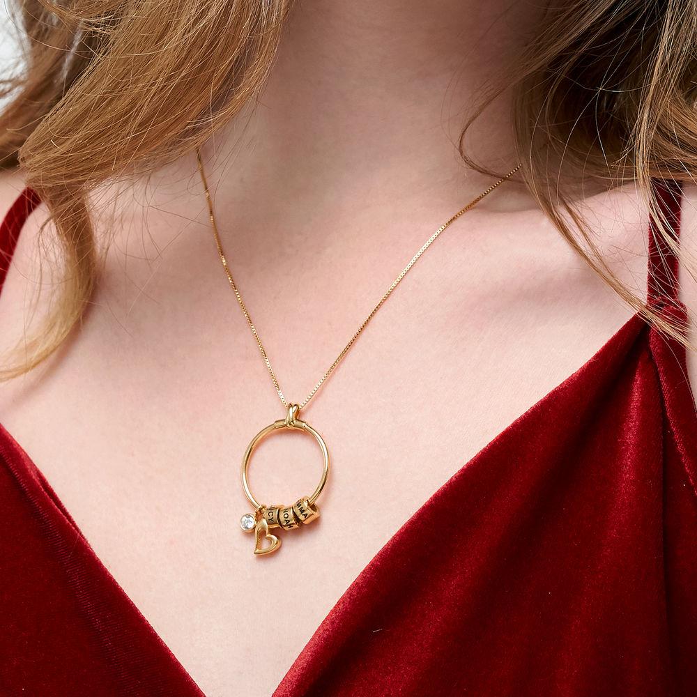 Gegraveerde Cirkel Hanger Linda ™ Ketting met blad en persoonlijke kralen in 18K Goud Verguld met diamanten - 5