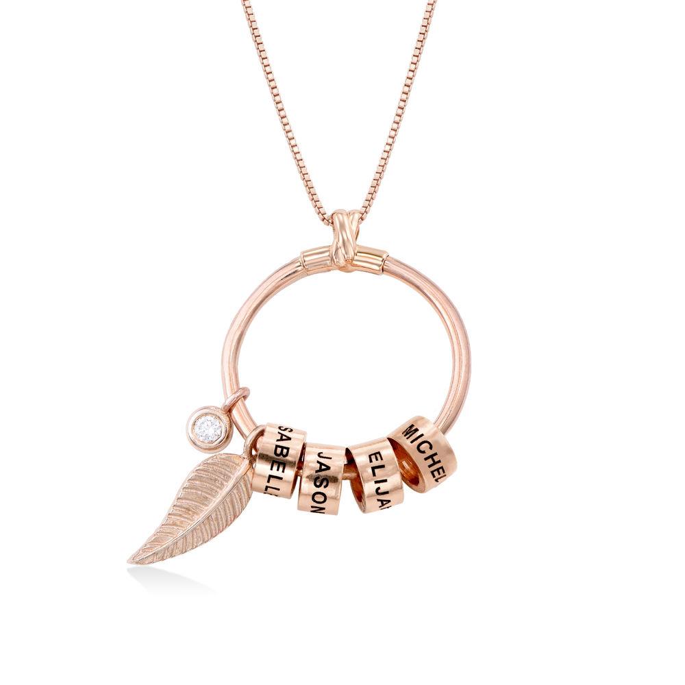 Gegraveerde Cirkel Hanger Ketting met blad en persoonlijke kralen™ in 18K Rosé Goud Verguld met diamanten