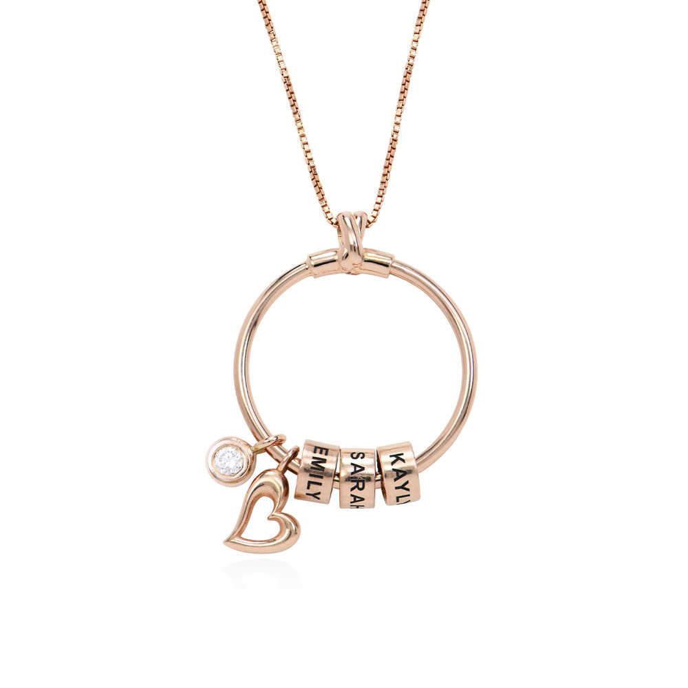 Gegraveerde Cirkel Hanger Ketting met blad en persoonlijke kralen™ in 18K Rosé Goud Verguld met diamanten - 1