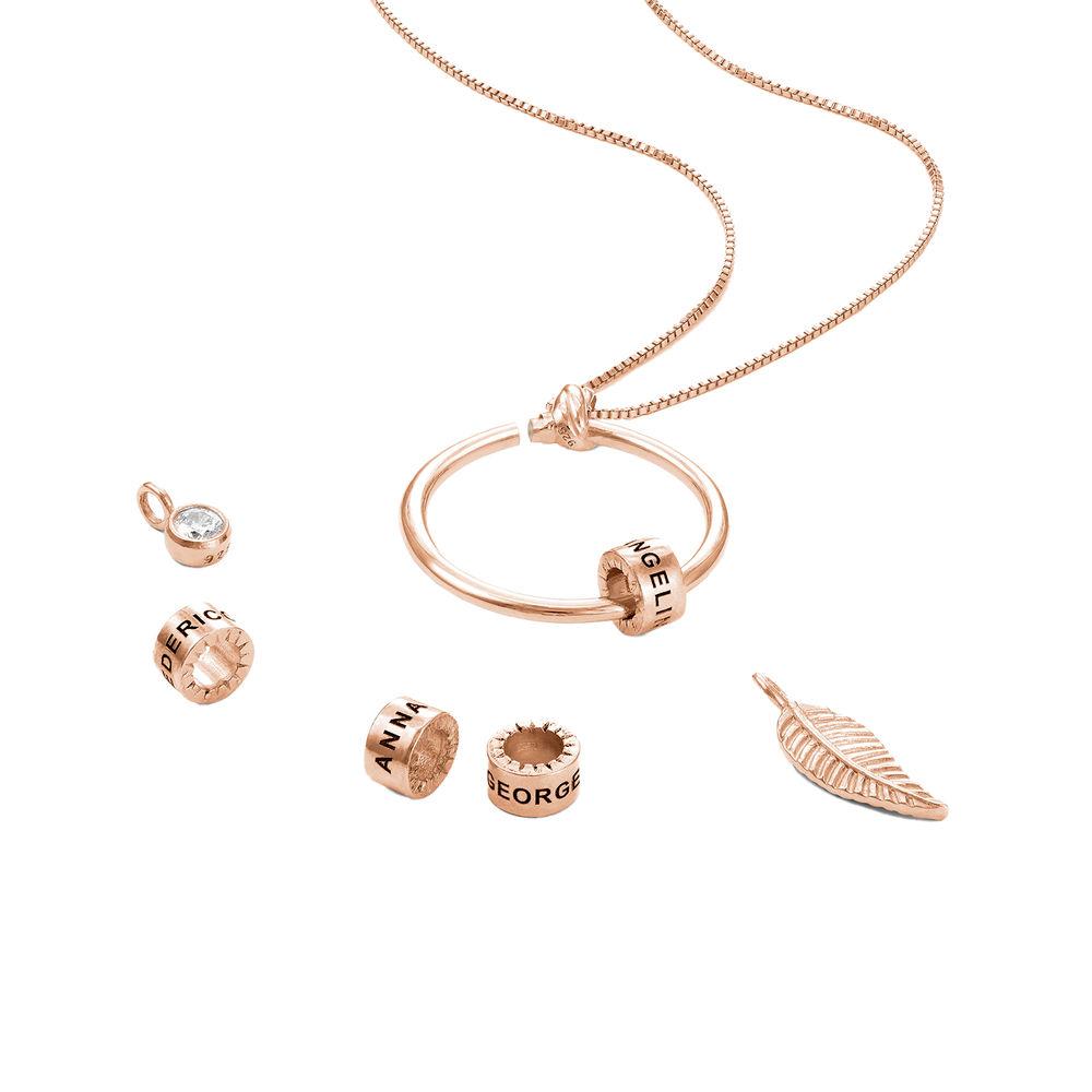 Gegraveerde Cirkel Hanger Ketting met blad en persoonlijke kralen™ in 18K Rosé Goud Verguld met diamanten - 2