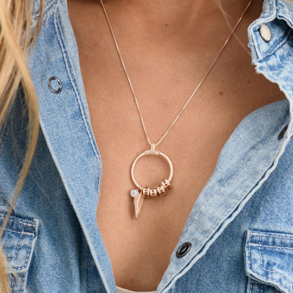 Gegraveerde Cirkel Hanger Ketting met blad en persoonlijke kralen™ in 18K Rosé Goud Verguld met diamanten - 4