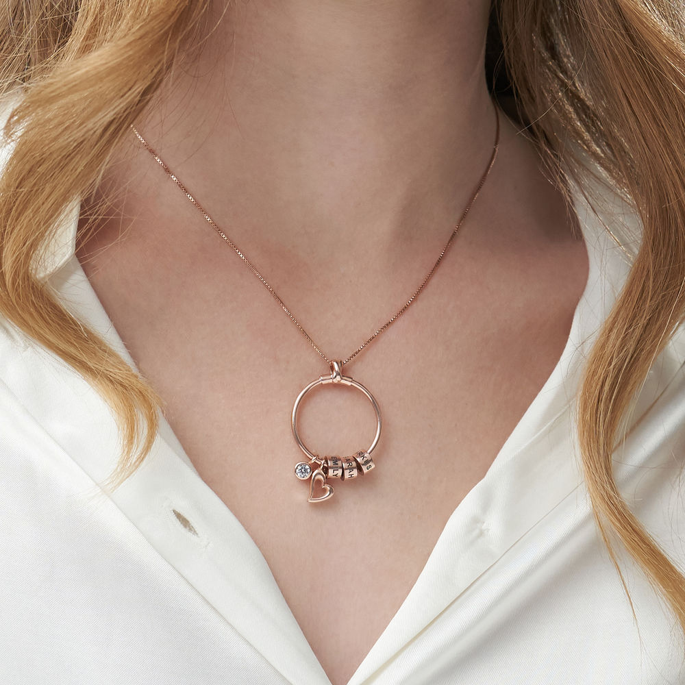 Gegraveerde Cirkel Hanger Ketting met blad en persoonlijke kralen™ in 18K Rosé Goud Verguld met diamanten - 5